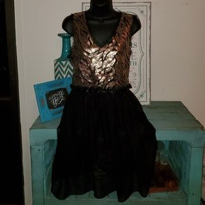 Gianni Bini Sz 13 Gold Sequined Party Dress